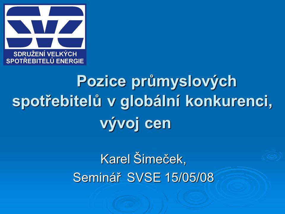 Pozice průmyslových spotřebitelů v globální konkurenci, vývoj cen Karel Šimeček, Seminář SVSE 15/05/08
