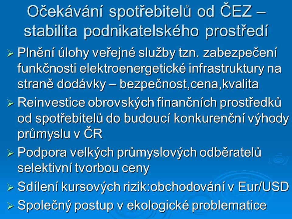 Očekávání spotřebitelů od ČEZ – stabilita podnikatelského prostředí  Plnění úlohy veřejné služby tzn.