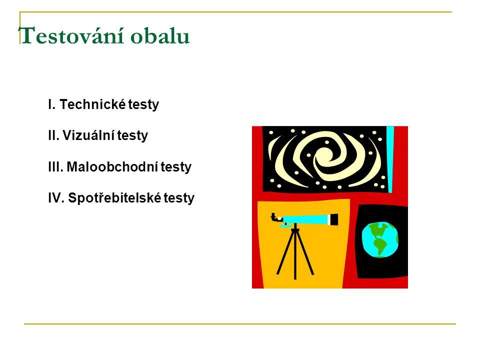 Testování obalu I. Technické testy II. Vizuální testy III. Maloobchodní testy IV. Spotřebitelské testy