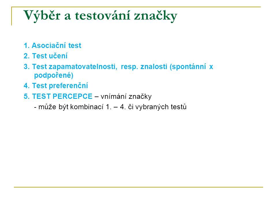 Výběr a testování značky 1. Asociační test 2. Test učení 3. Test zapamatovatelnosti, resp. znalosti (spontánní x podpořené) 4. Test preferenční 5. TES