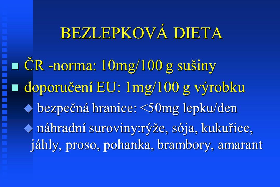 BEZLEPKOVÁ DIETA n ČR -norma: 10mg/100 g sušiny n doporučení EU: 1mg/100 g výrobku u bezpečná hranice: <50mg lepku/den u náhradní suroviny:rýže, sója, kukuřice, jáhly, proso, pohanka, brambory, amarant