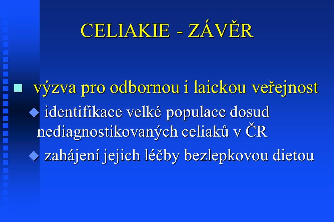 CELIAKIE - ZÁVĚR n výzva pro odbornou i laickou veřejnost u identifikace velké populace dosud nediagnostikovaných celiaků v ČR u zahájení jejich léčby bezlepkovou dietou