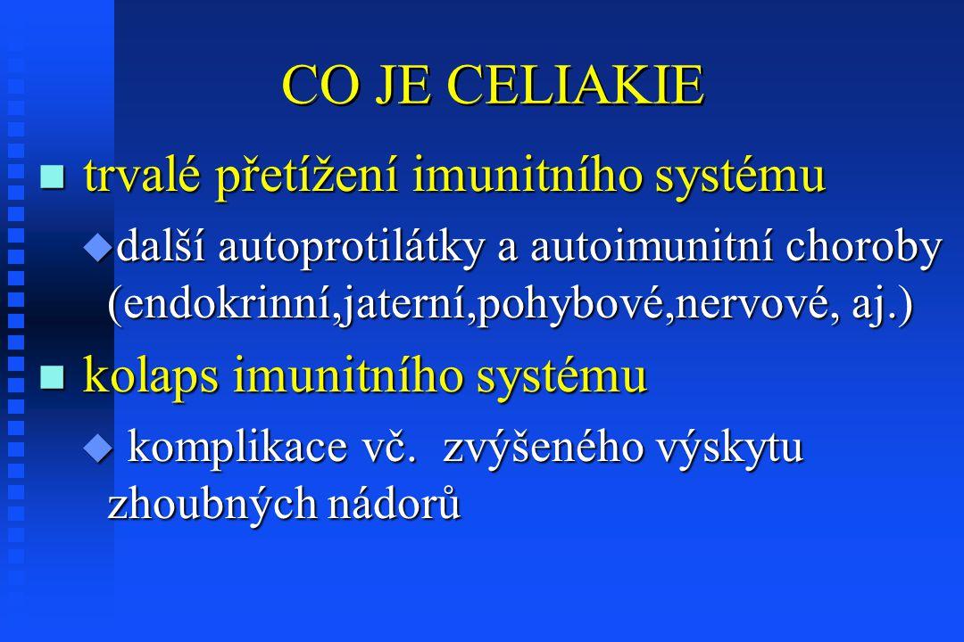 CO JE CELIAKIE n trvalé přetížení imunitního systému u další autoprotilátky a autoimunitní choroby (endokrinní,jaterní,pohybové,nervové, aj.) n kolaps imunitního systému u komplikace vč.