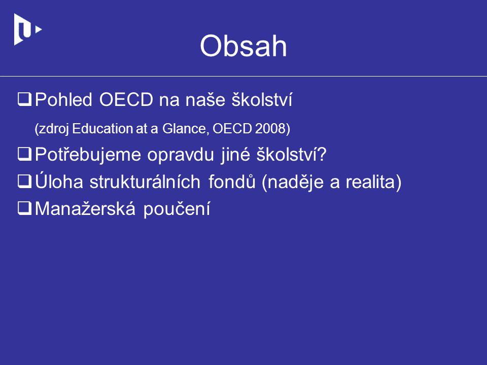 Obsah  Pohled OECD na naše školství (zdroj Education at a Glance, OECD 2008)  Potřebujeme opravdu jiné školství.