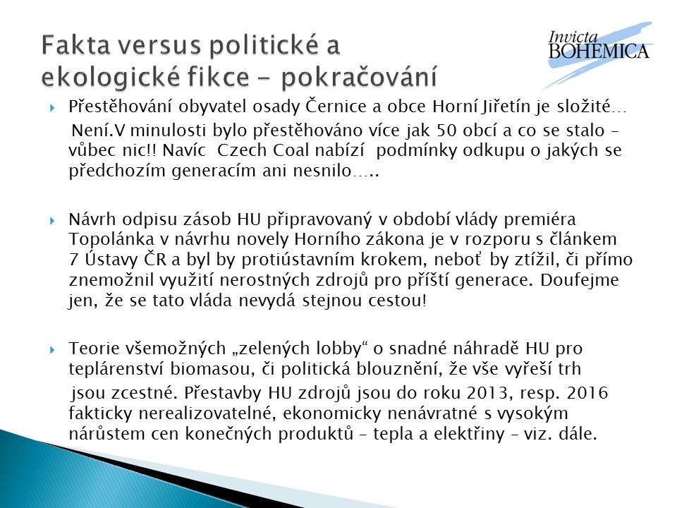  Přestěhování obyvatel osady Černice a obce Horní Jiřetín je složité… Není.V minulosti bylo přestěhováno více jak 50 obcí a co se stalo – vůbec nic!!