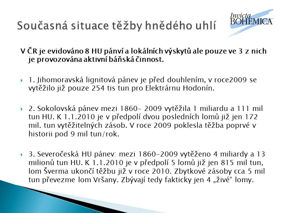 V ČR je evidováno 8 HU pánví a lokálních výskytů ale pouze ve 3 z nich je provozována aktivní báňská činnost.  1. Jihomoravská lignitová pánev je pře