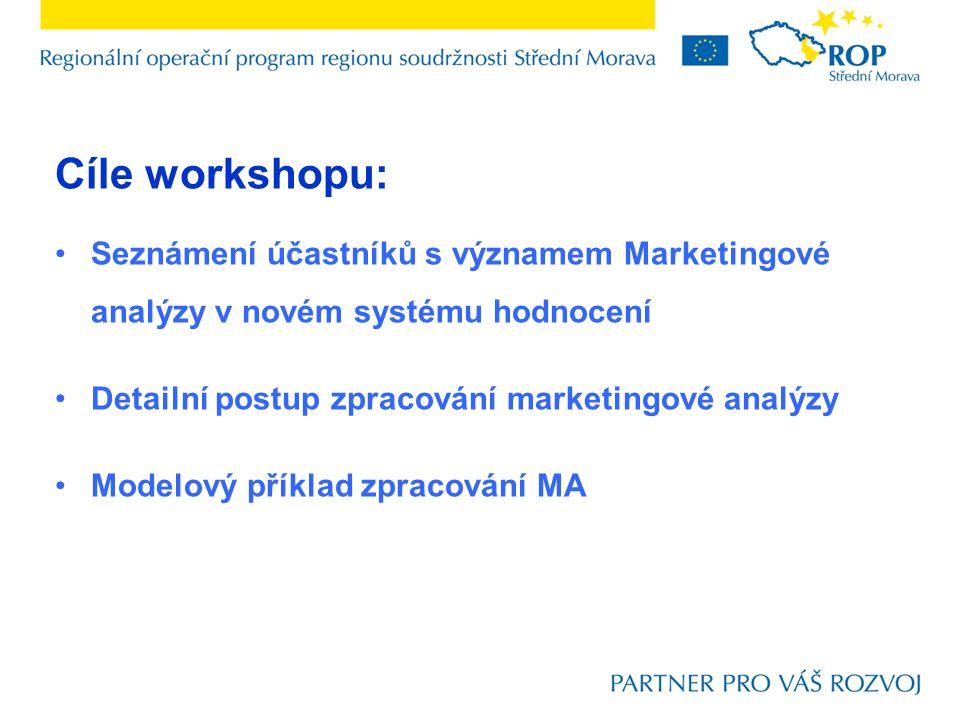 Cíle workshopu: Seznámení účastníků s významem Marketingové analýzy v novém systému hodnocení Detailní postup zpracování marketingové analýzy Modelový