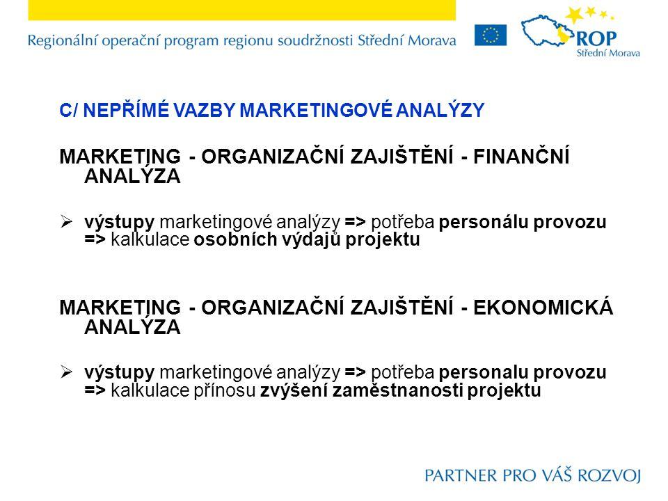 C/ NEPŘÍMÉ VAZBY MARKETINGOVÉ ANALÝZY MARKETING - ORGANIZAČNÍ ZAJIŠTĚNÍ - FINANČNÍ ANALÝZA  výstupy marketingové analýzy => potřeba personálu provozu