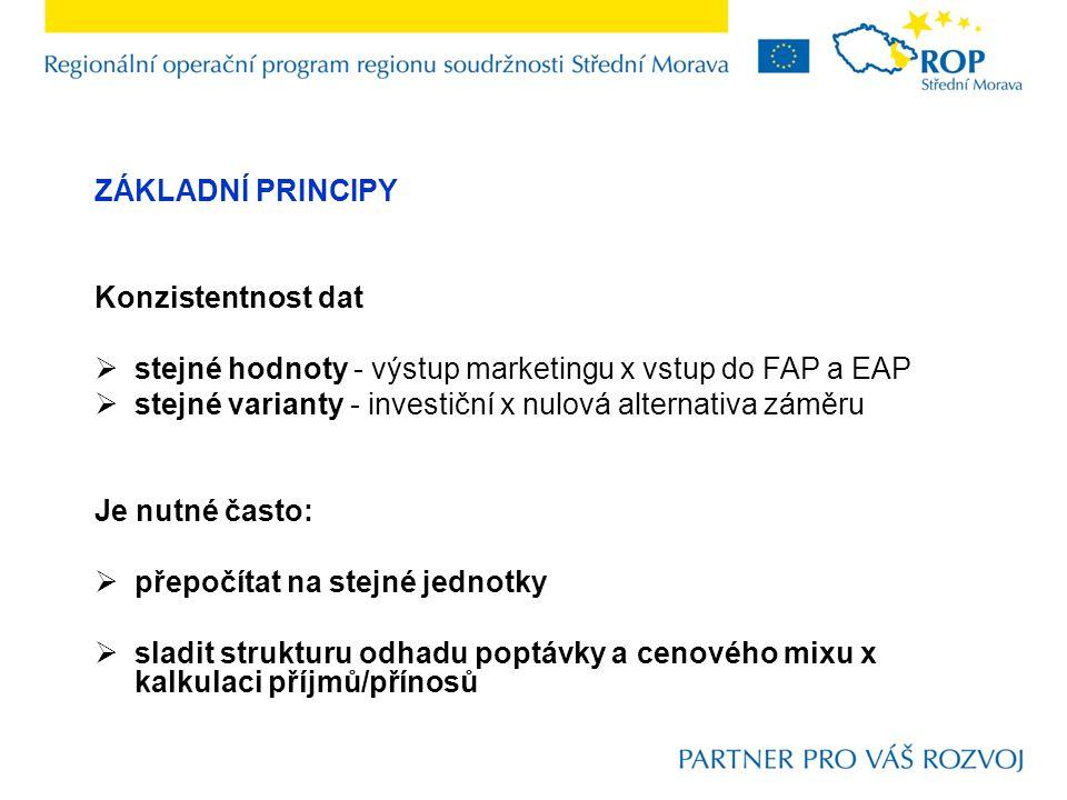 ZÁKLADNÍ PRINCIPY Konzistentnost dat  stejné hodnoty - výstup marketingu x vstup do FAP a EAP  stejné varianty - investiční x nulová alternativa zám