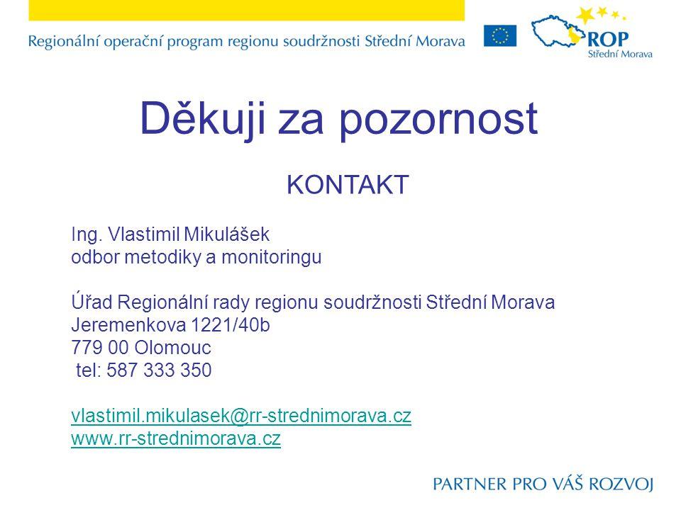 Děkuji za pozornost KONTAKT Ing. Vlastimil Mikulášek odbor metodiky a monitoringu Úřad Regionální rady regionu soudržnosti Střední Morava Jeremenkova