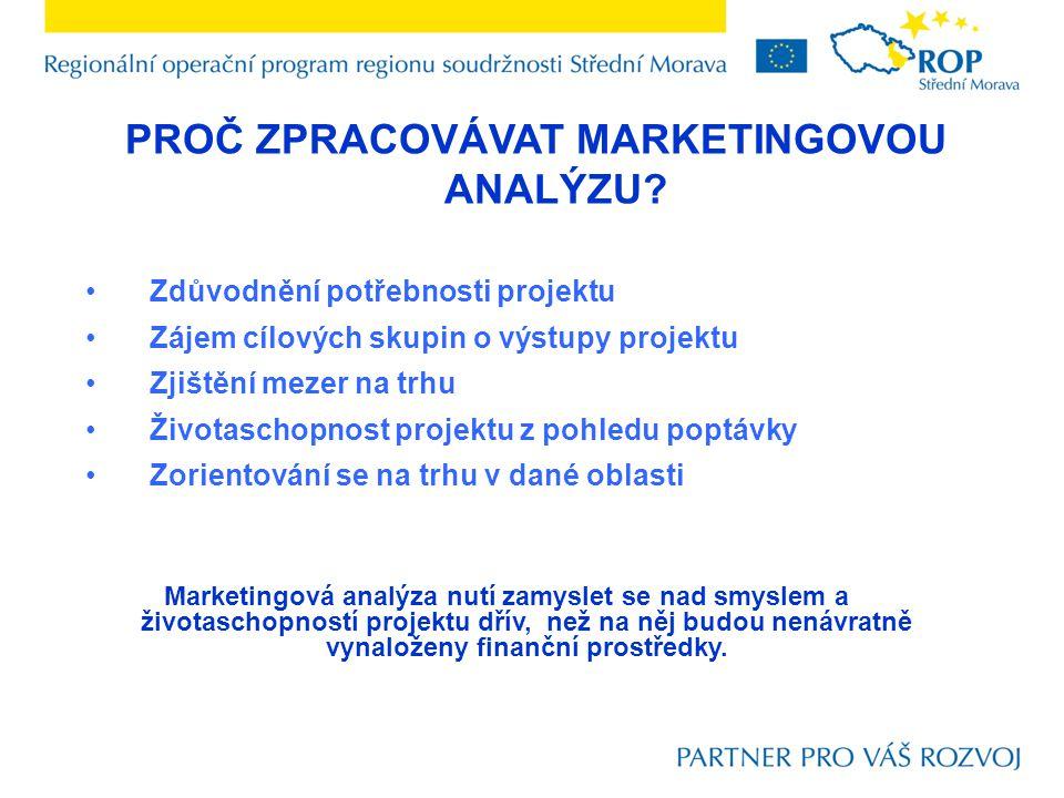 Zdůvodnění potřebnosti projektu Zájem cílových skupin o výstupy projektu Zjištění mezer na trhu Životaschopnost projektu z pohledu poptávky Zorientová