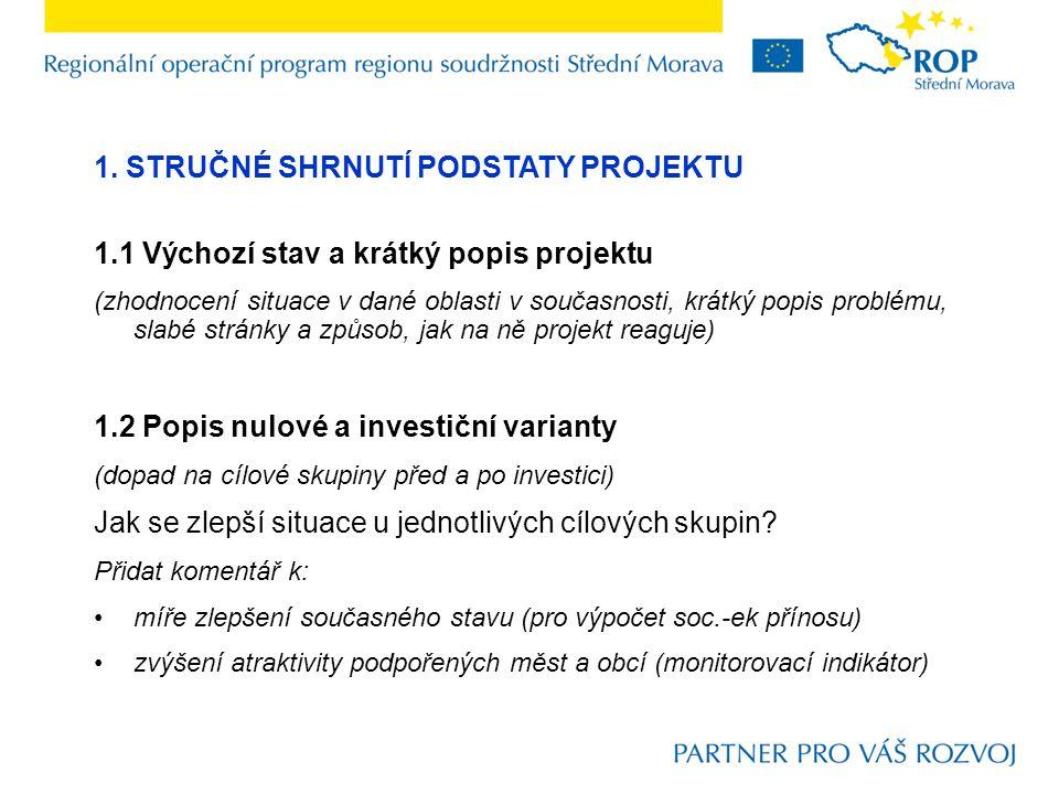 1. STRUČNÉ SHRNUTÍ PODSTATY PROJEKTU 1.1 Výchozí stav a krátký popis projektu (zhodnocení situace v dané oblasti v současnosti, krátký popis problému,
