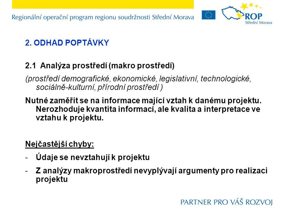 2. ODHAD POPTÁVKY 2.1 Analýza prostředí (makro prostředí) (prostředí demografické, ekonomické, legislativní, technologické, sociálně-kulturní, přírodn