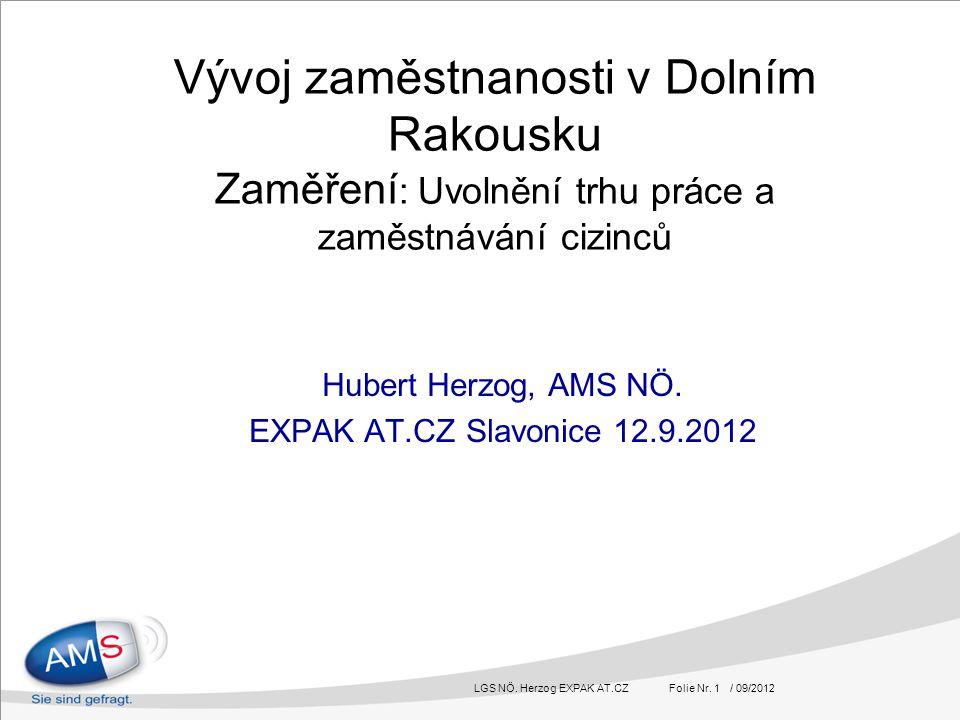 LGS NÖ. Herzog EXPAK AT.CZ Folie Nr. 1 / 09/2012 Vývoj zaměstnanosti v Dolním Rakousku Zaměření : Uvolnění trhu práce a zaměstnávání cizinců Hubert He