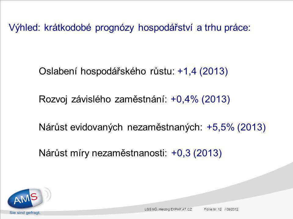 LGS NÖ. Herzog EXPAK AT.CZ Folie Nr. 12 / 09/2012 Oslabení hospodářského růstu: +1,4 (2013) Rozvoj závislého zaměstnání: +0,4% (2013) Nárůst evidovaný