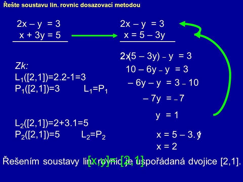Řešte soustavu lin. rovnic dosazovací metodou 2x – y = 3 x + 3y = 5 x = 5 – 3y 2.(5 – 3y) 10 – 6y – y = 3 – 6y – y = 3 – 10 – 7y = – 7 y = 1 – y = 3 x