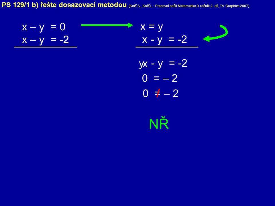 x – y = 0 x – y = -2 x = y y 0 = – 2 - y = -2 NŘ - y = -2 x x PS 129/1 b) řešte dosazovací metodou (Kočí S., Kočí L.: Pracovní sešit Matematika 9. roč