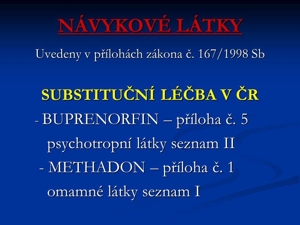 NÁVYKOVÉ LÁTKY Uvedeny v přílohách zákona č. 167/1998 Sb SUBSTITUČNÍ LÉČBA V ČR - BUPRENORFIN – příloha č. 5 - BUPRENORFIN – příloha č. 5 psychotropní