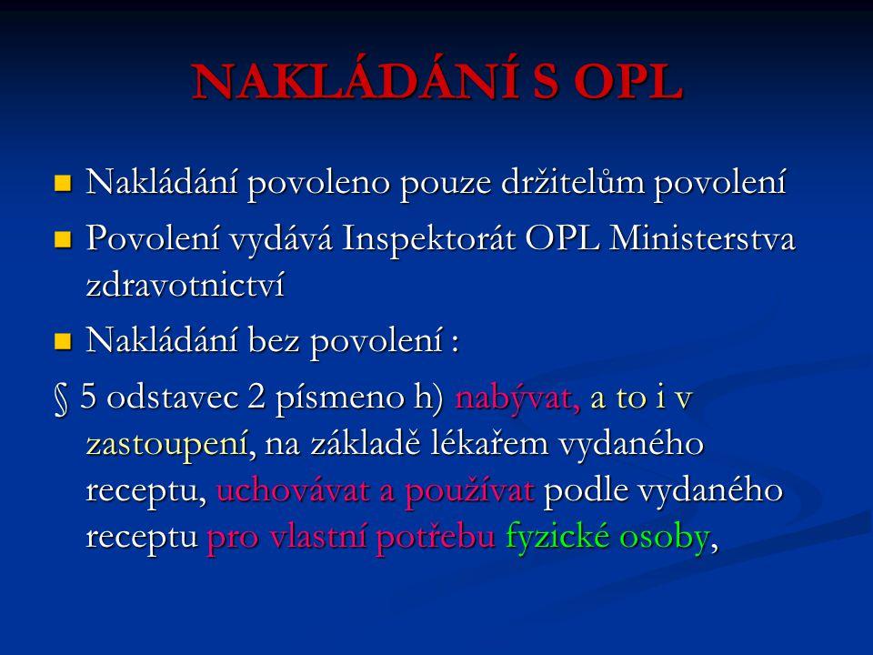 NAKLÁDÁNÍ S OPL Nakládání povoleno pouze držitelům povolení Nakládání povoleno pouze držitelům povolení Povolení vydává Inspektorát OPL Ministerstva z