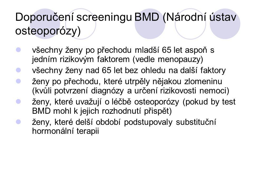 Doporučení screeningu BMD (Národní ústav osteoporózy) všechny ženy po přechodu mladší 65 let aspoň s jedním rizikovým faktorem (vedle menopauzy) všech