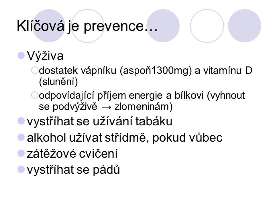 Klíčová je prevence… Výživa  dostatek vápníku (aspoň1300mg) a vitamínu D (slunění)  odpovídající příjem energie a bílkovi (vyhnout se podvýživě → zl