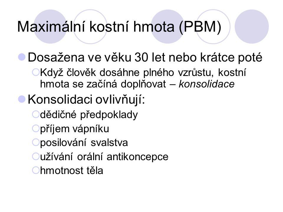 Maximální kostní hmota (PBM) Dosažena ve věku 30 let nebo krátce poté  Když člověk dosáhne plného vzrůstu, kostní hmota se začíná doplňovat – konsoli