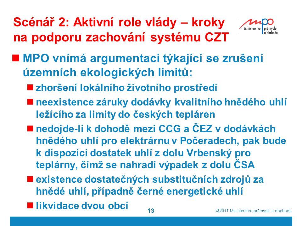  2011  Ministerstvo průmyslu a obchodu Scénář 2: Aktivní role vlády – kroky na podporu zachování systému CZT MPO vnímá argumentaci týkající se zrušení územních ekologických limitů: zhoršení lokálního životního prostředí neexistence záruky dodávky kvalitního hnědého uhlí ležícího za limity do českých tepláren nedojde-li k dohodě mezi CCG a ČEZ v dodávkách hnědého uhlí pro elektrárnu v Počeradech, pak bude k dispozici dostatek uhlí z dolu Vrbenský pro teplárny, čímž se nahradí výpadek z dolu ČSA existence dostatečných substitučních zdrojů za hnědé uhlí, případně černé energetické uhlí likvidace dvou obcí 13