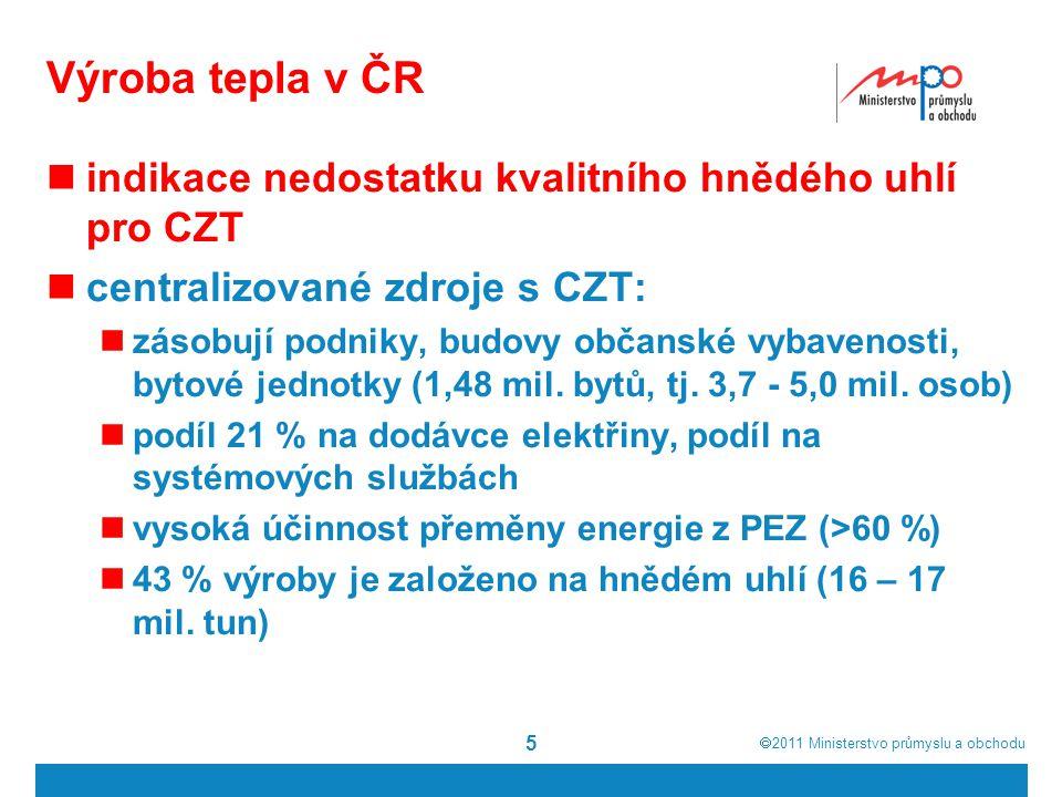  2011  Ministerstvo průmyslu a obchodu 5 Výroba tepla v ČR indikace nedostatku kvalitního hnědého uhlí pro CZT centralizované zdroje s CZT: zásobují podniky, budovy občanské vybavenosti, bytové jednotky (1,48 mil.