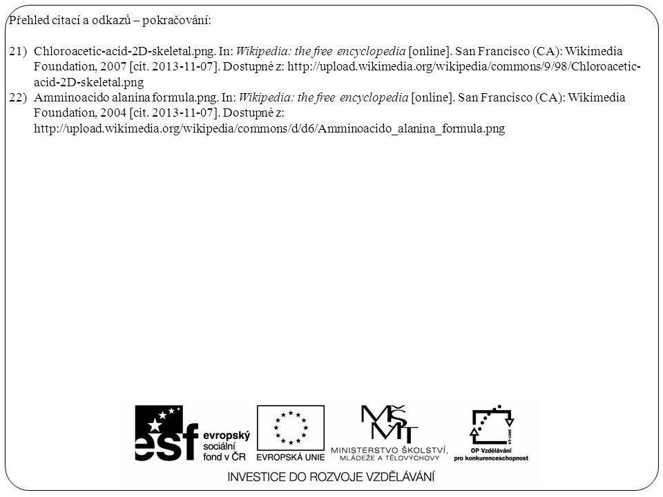 Přehled citací a odkazů – pokračování: 21)Chloroacetic-acid-2D-skeletal.png.