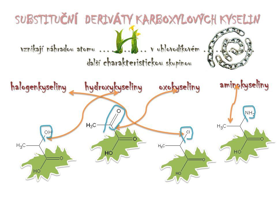hydroxykyselinyoxokyseliny aminokyseliny halogenkyseliny SUBSTITU Č N Í DERIV Á TY KARBOXYLOVÝCH KYSELIN vznikají náhradou atomu ………… v uhlovodíkovém ………….