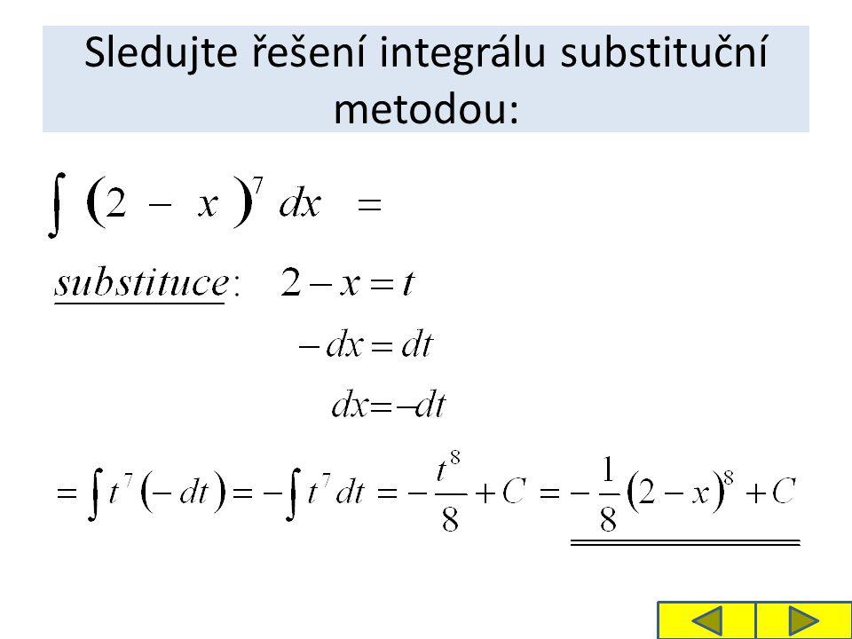 Sledujte řešení integrálu substituční metodou: