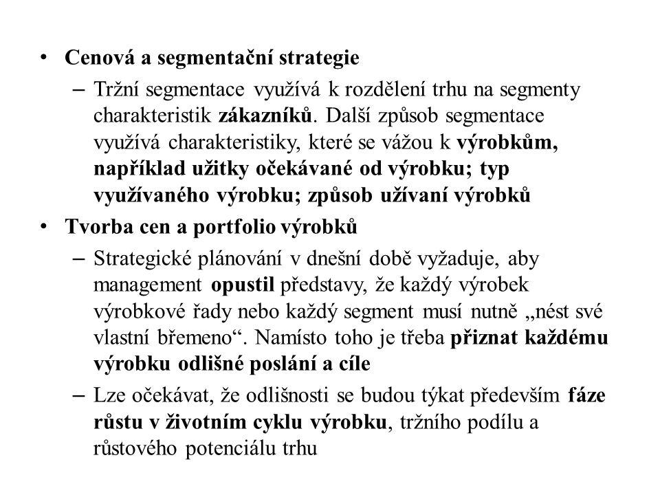 Cenová a segmentační strategie – Tržní segmentace využívá k rozdělení trhu na segmenty charakteristik zákazníků. Další způsob segmentace využívá chara
