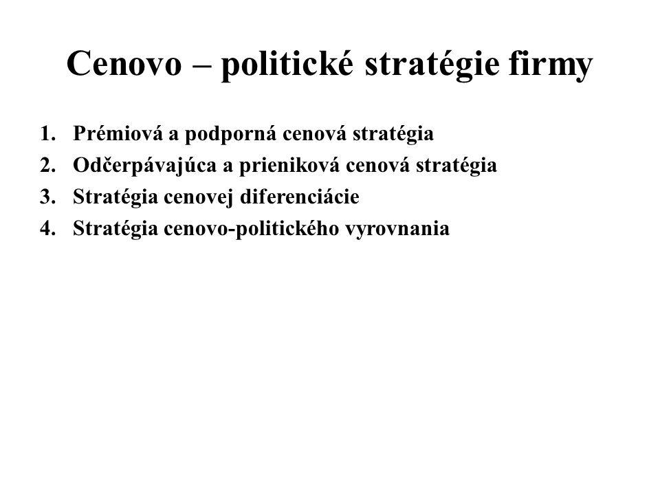 Cenovo – politické stratégie firmy 1.Prémiová a podporná cenová stratégia 2.Odčerpávajúca a prieniková cenová stratégia 3.Stratégia cenovej diferenciá