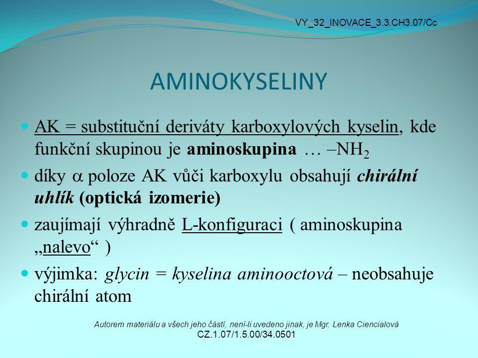 AMINOKYSELINY AK = substituční deriváty karboxylových kyselin, kde funkční skupinou je aminoskupina … –NH 2 díky  poloze AK vůči karboxylu obsahují c