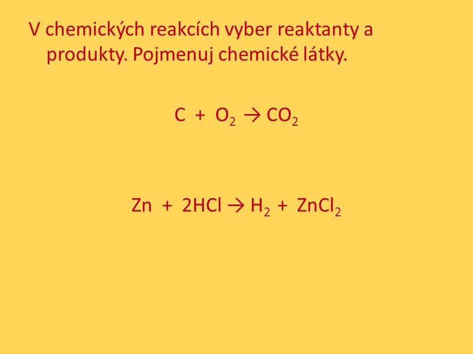 V chemických reakcích vyber reaktanty a produkty. Pojmenuj chemické látky.