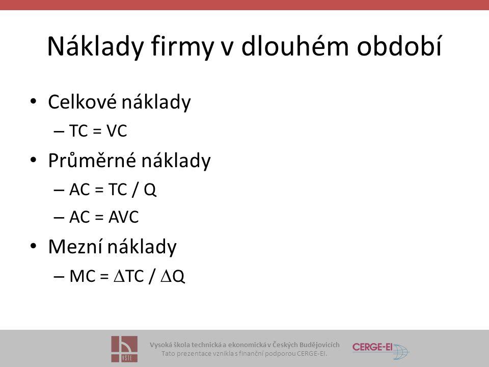 Vysoká škola technická a ekonomická v Českých Budějovicích Tato prezentace vznikla s finanční podporou CERGE-EI. Náklady firmy v dlouhém období Celkov
