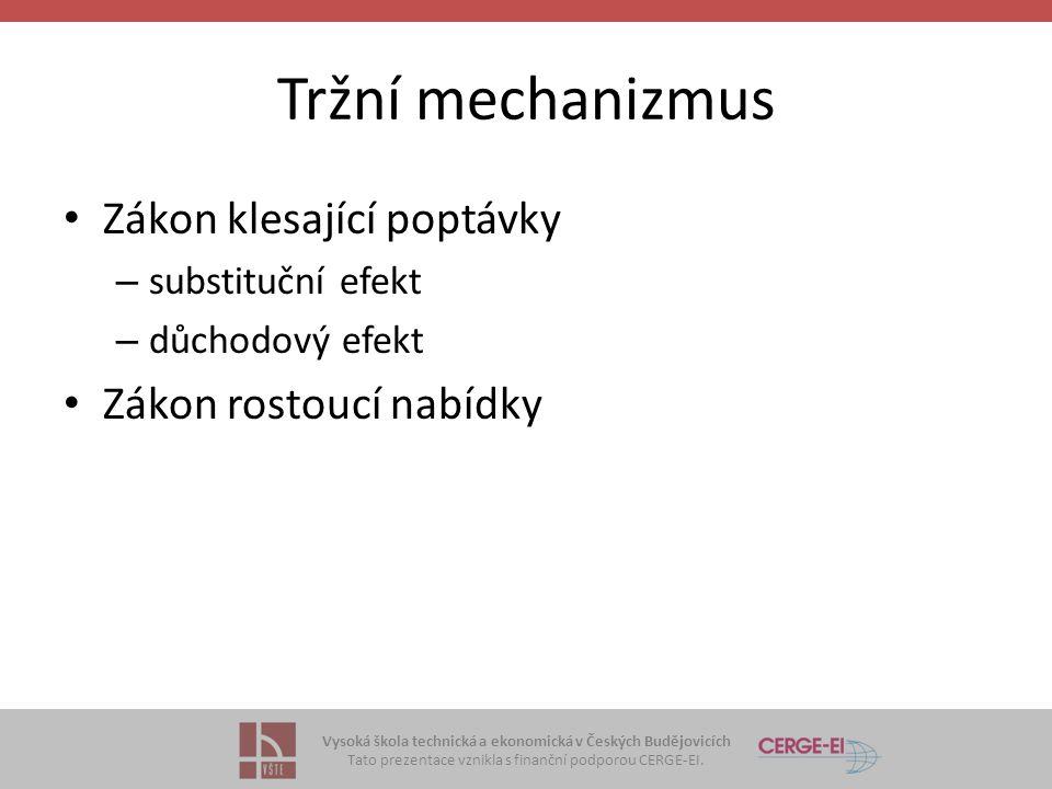 Vysoká škola technická a ekonomická v Českých Budějovicích Tato prezentace vznikla s finanční podporou CERGE-EI. Tržní mechanizmus Zákon klesající pop