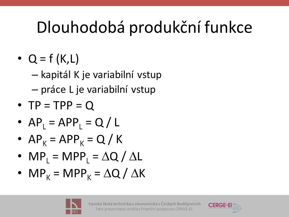 Vysoká škola technická a ekonomická v Českých Budějovicích Tato prezentace vznikla s finanční podporou CERGE-EI. Dlouhodobá produkční funkce Q = f (K,