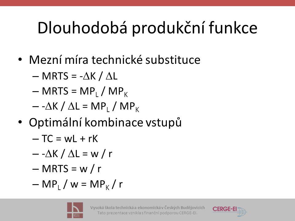 Vysoká škola technická a ekonomická v Českých Budějovicích Tato prezentace vznikla s finanční podporou CERGE-EI. Dlouhodobá produkční funkce Mezní mír