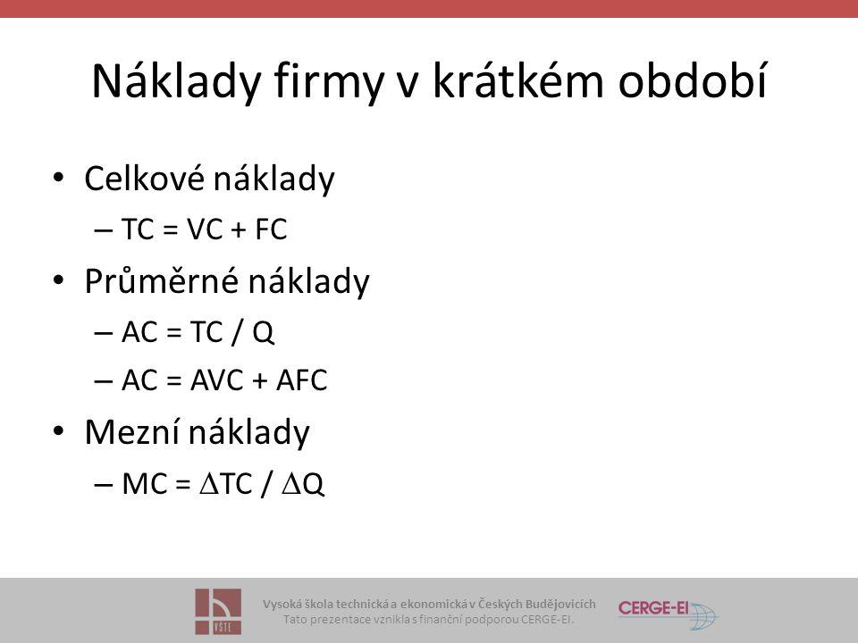 Vysoká škola technická a ekonomická v Českých Budějovicích Tato prezentace vznikla s finanční podporou CERGE-EI. Náklady firmy v krátkém období Celkov