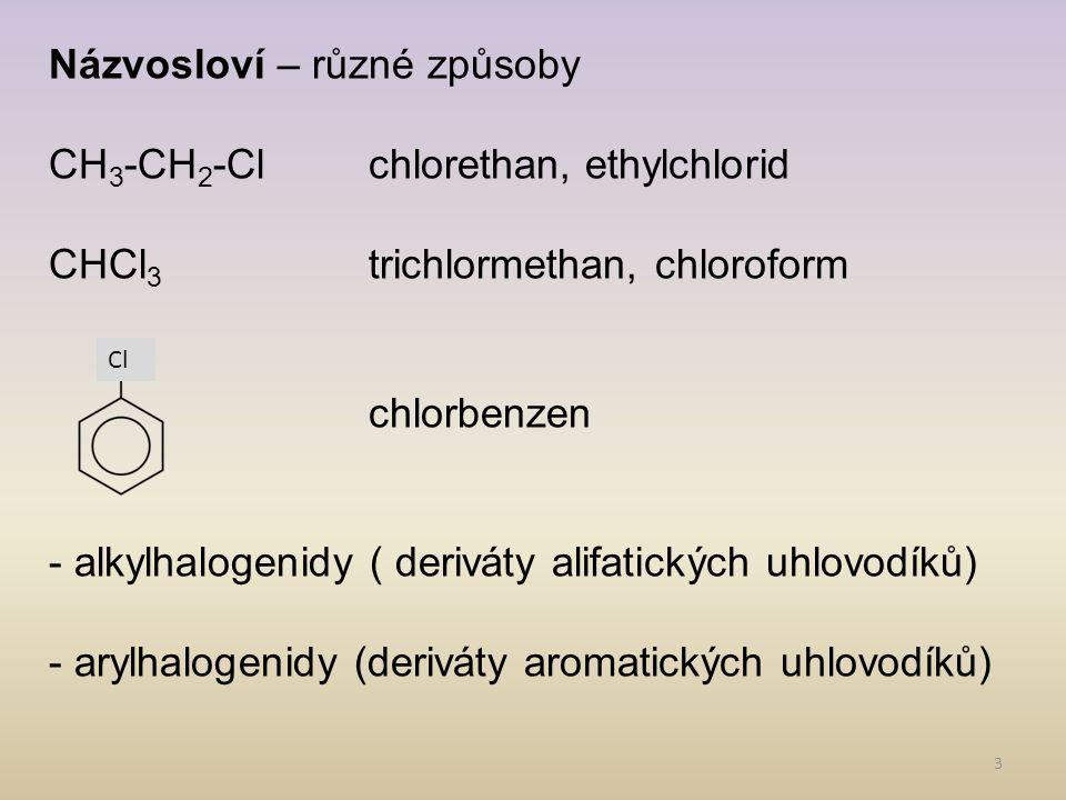 4 Příprava 1)přímá halogenace uhlovodíků: - substituce - vznikají směsi, které se obtížně dělí - využívá se u aromatických uhlovodíků 2) adice nenasycených uhlovodíků - platí Markovnikovo pravidlo 3) substitucí z alkoholů: CH 3 CH 2 OH + HICH 3 CH 2 I + H 2 O
