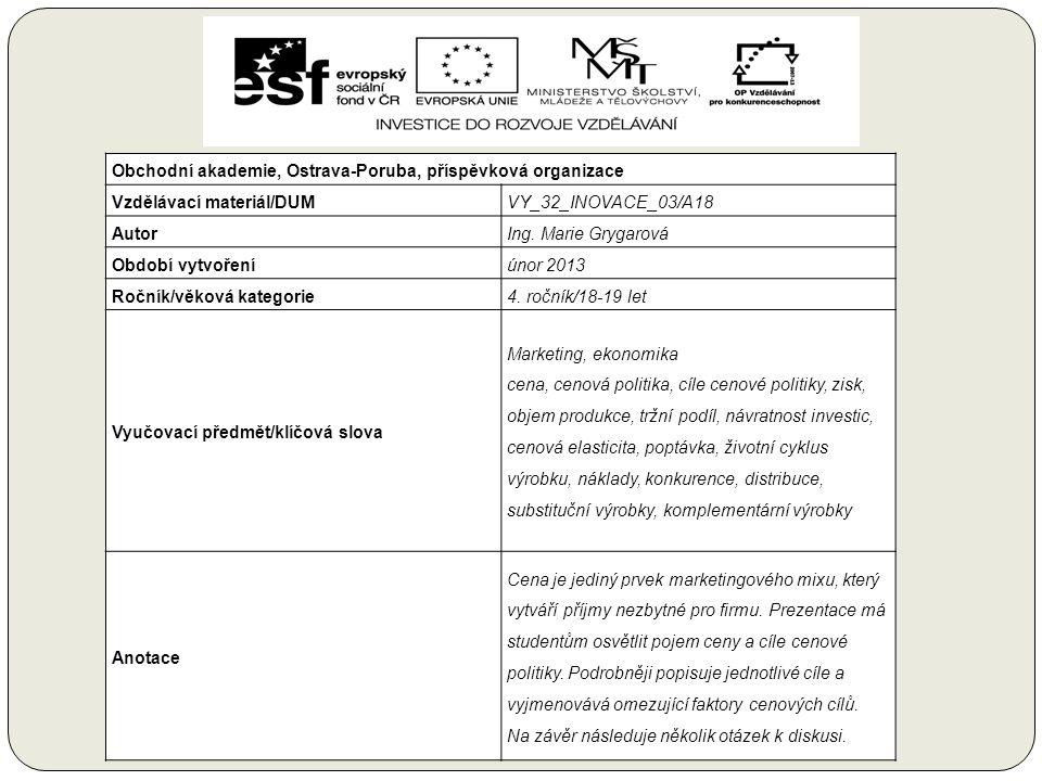 Obchodní akademie, Ostrava-Poruba, příspěvková organizace Vzdělávací materiál/DUMVY_32_INOVACE_03/A18 AutorIng.