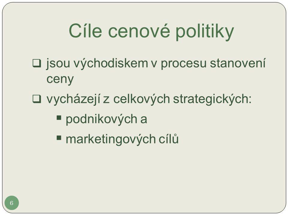 Cíle cenové politiky 6  jsou východiskem v procesu stanovení ceny  vycházejí z celkových strategických:  podnikových a  marketingových cílů