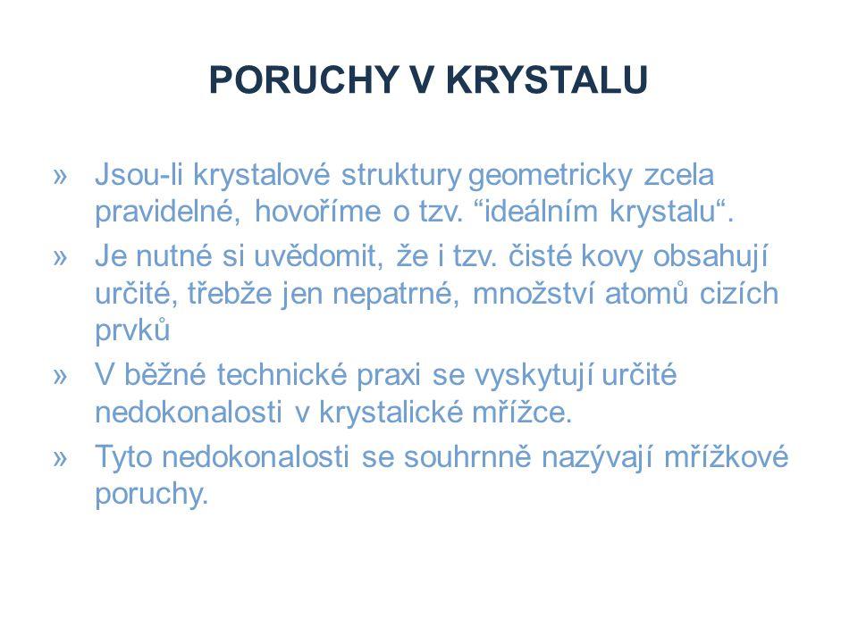 PORUCHY V KRYSTALU »Jsou-li krystalové struktury geometricky zcela pravidelné, hovoříme o tzv.
