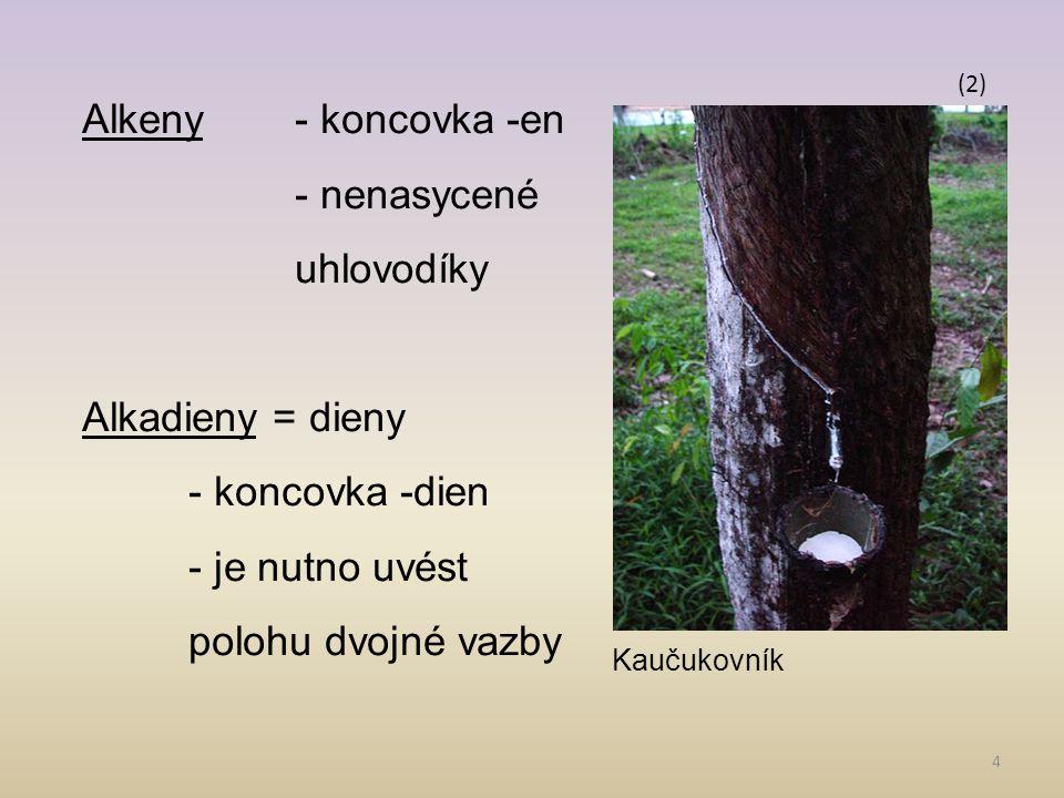 4 Alkeny- koncovka -en - nenasycené uhlovodíky Alkadieny = dieny - koncovka -dien - je nutno uvést polohu dvojné vazby (2) Kaučukovník