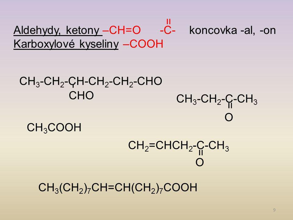 9 Aldehydy, ketony –CH=O-C-koncovka -al, -on Karboxylové kyseliny –COOH CHO CH 3 -CH 2 -CH-CH 2 -CH 2 -CHO O CH 3 -CH 2 -C-CH 3 CH 3 COOH O CH 2 =CHCH 2 -C-CH 3 CH 3 (CH 2 ) 7 CH=CH(CH 2 ) 7 COOH =