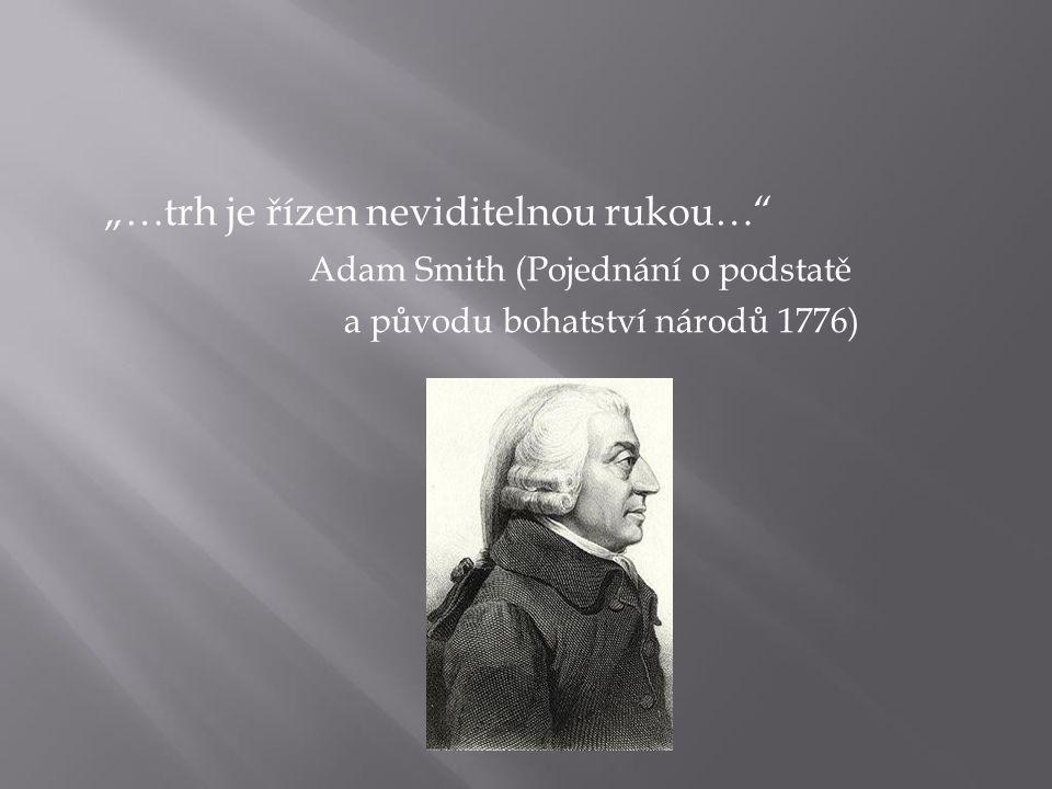 """""""…trh je řízen neviditelnou rukou…"""" Adam Smith (Pojednání o podstatě a původu bohatství národů 1776)"""