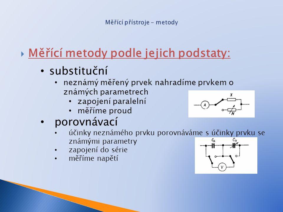  Měřící metody podle jejich podstaty: substituční neznámý měřený prvek nahradíme prvkem o známých parametrech zapojení paralelní měříme proud porovná