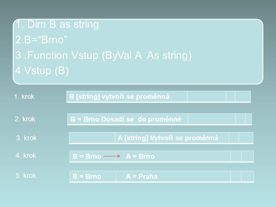 """1. Dim B as string 2.B=""""Brno"""" 3.Function Vstup (ByVal A As string) 4 Vstup (B) B [string] vytvoři se proměnná 1. krok B = Brno Dosadí se do proměnné 2"""