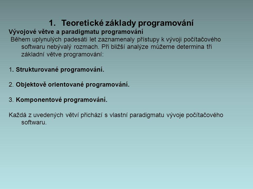 1.Teoretické základy programování Vývojové větve a paradigmatu programování Během uplynulých padesáti let zaznamenaly přístupy k vývoji počítačového softwaru nebývalý rozmach.